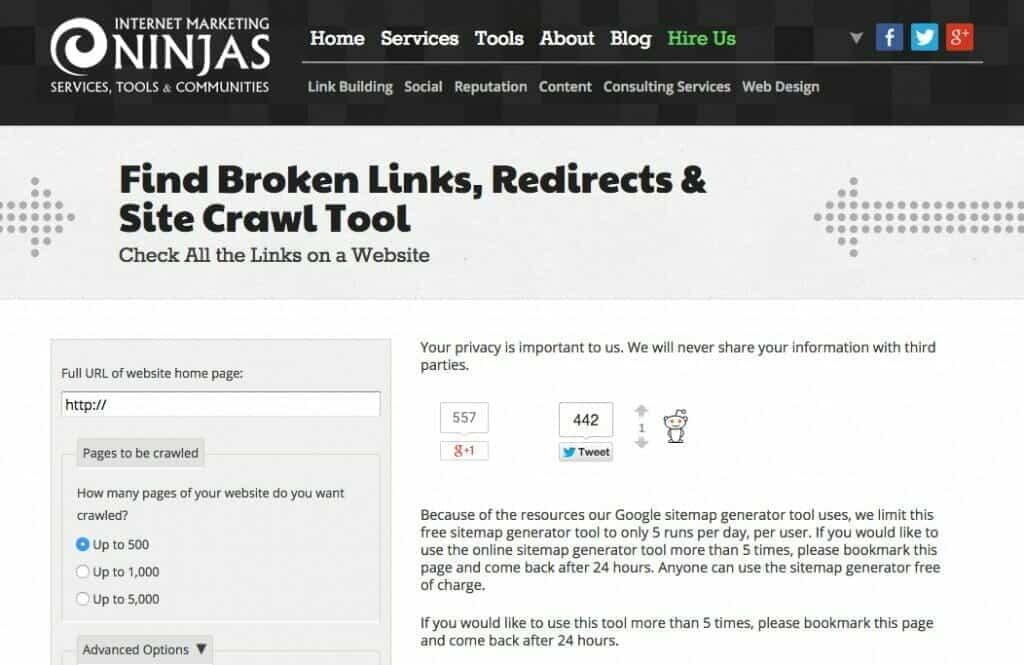 Internet Marketing Ninja Broken Link Tool