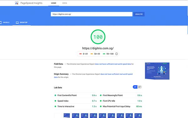 Google Pagespeed Score - Digitrio