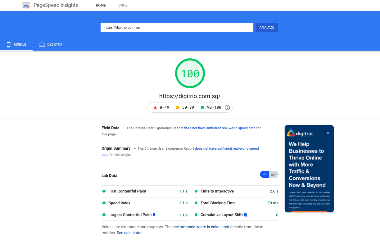 Digitrio Mobile Page Speed Score